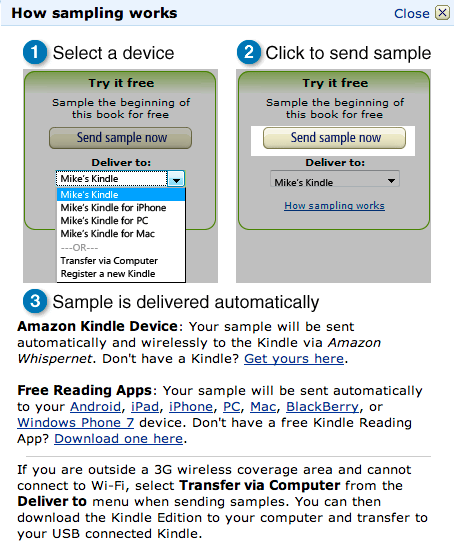 Kindle sample how to